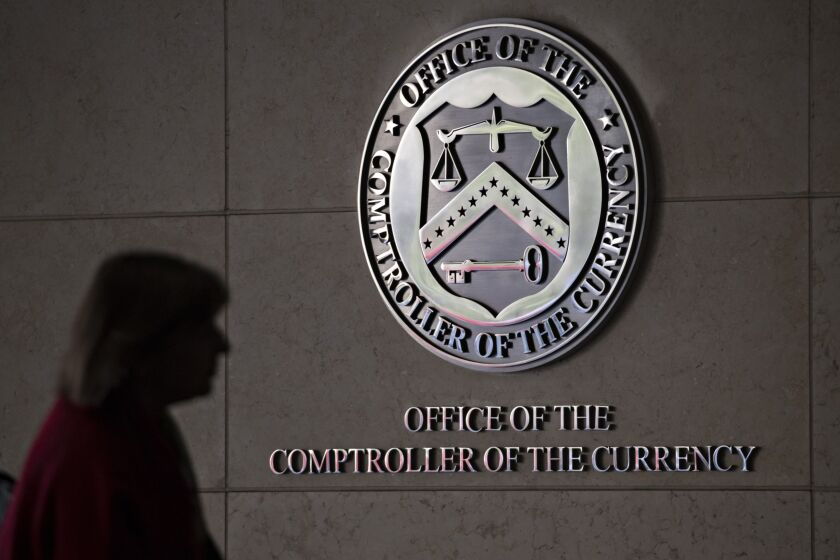 "The OCC is technically a bureau of the Treasury Department, and in the absence of Senate confirmation, the title of acting comptroller would fall to whoever is designated by Secretary Janet Yellen as agency's ""first deputy comptroller."""