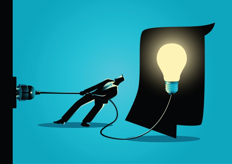 Illustration of a businessman pulling the plug on a giant idea lightbulb.