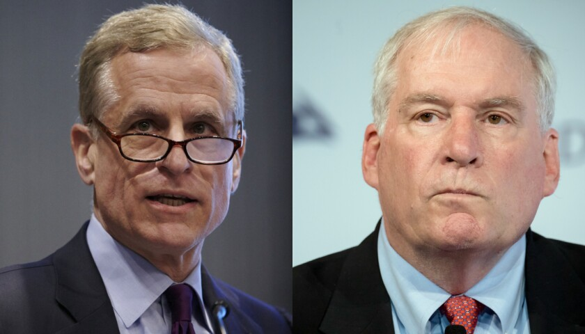 """Federal Reserve Bank of Dallas President Robert Kaplan, left, said he wanted """"to eliminate any distractions"""" at the Fed. Boston Fed chief Eric Rosengren, whose personal investments also came into question, said he will step down earlier than planned due to a health condition."""