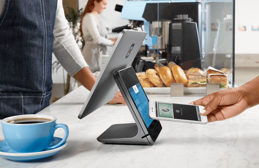 The 2017 Square Register has two screens.