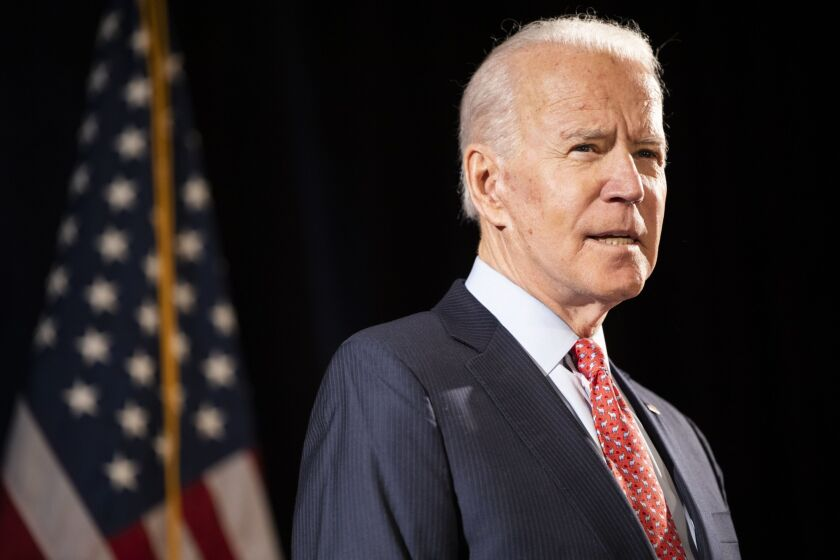 Former Vice President Joe Biden, 2020 Democratic presidential candidate, speaks during a news conference in Wilmington, Delaware, on March 12, 2020.