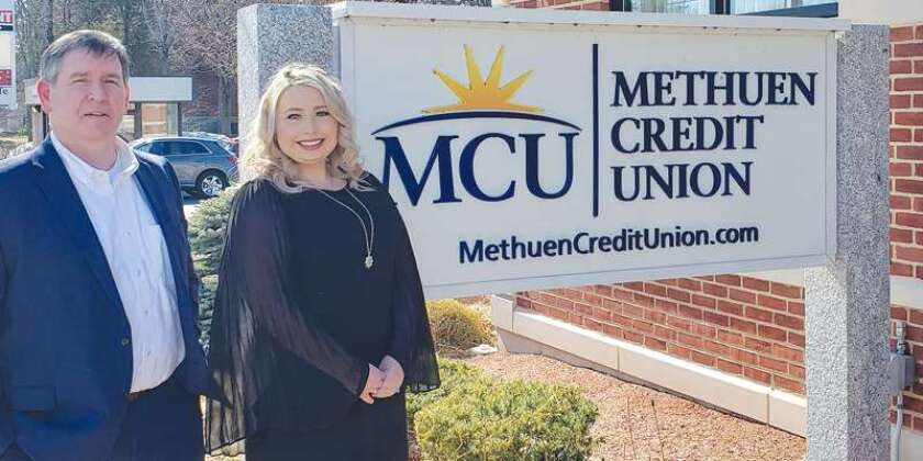 Andy Moisan, left, the new CEO of Methuen Credit union, and Erika Rondeau, the credit union's new operations manager.