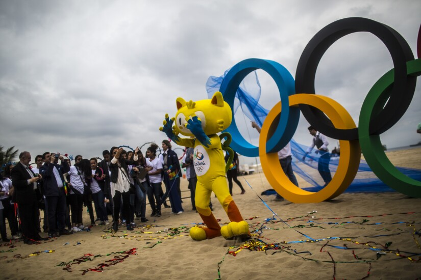 Olympic Rings on Copacabana beach in Rio de Janeiro, Brazil.