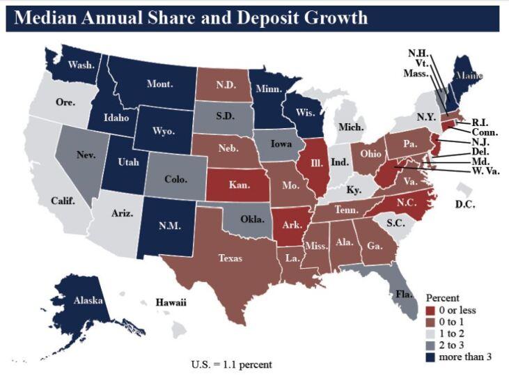 NCUA median annual share and deposit growth Q1 2019 - CUJ 061619.JPG