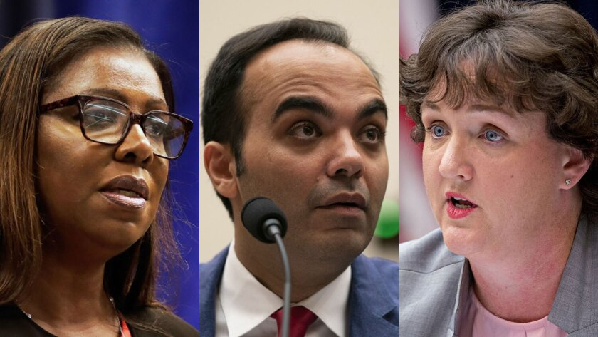Some names mentioned as a potential CFPB chief in a Democratic administration include FTC member Rohit Chopra, center, and California lawmaker Katie Porter, right. A new director could also be chosen from among state attorneys general, such as New York's Letitia James.