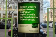 Photo of an ad posted at a TD Bank branch in Boston's Back Bay neighborhood.