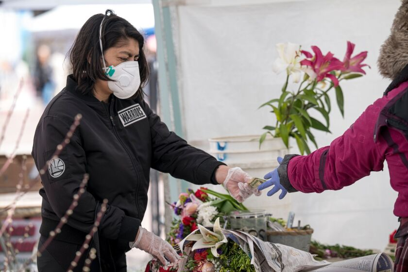 Flowers being sold in farmers market in San Francisco in 2020