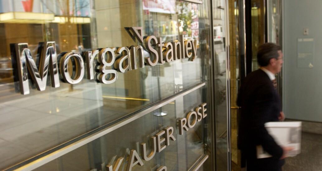 Morgan Stanley glass door by Bloomberg News