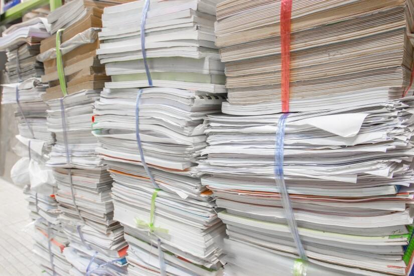 Stacks of paper.