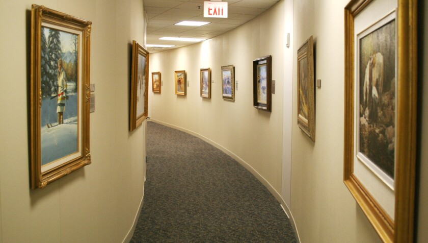 Tom James, the firm's chairman emeritus, is an avid art collector, and the company's hallways are decorated with contemporary paintings and sculptures, imbuing an art gallery vibe.