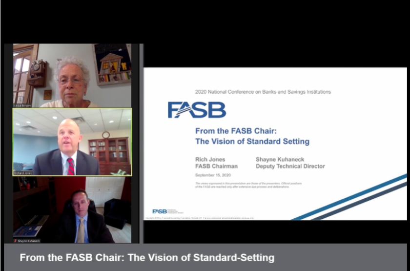 FASB chairman Richard Jones (center), FASB deputy technical director Shayne Kuhaneck (below) and panel moderator Linda Bergen, Citigroup director of corporate accounting policy and AICPA chair of the Depository Institutions Expert Panel (top), speaking at the AICPA Virtual Conference on Banks and Savings Institutions