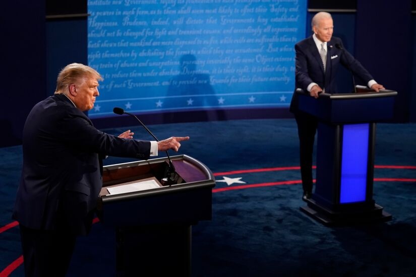 U.S. President Donald Trump, left, speaks as Joe Biden, 2020 Democratic presidential nominee, listens during the first U.S. presidential debate hosted by Case Western Reserve University and the Cleveland Clinic in Cleveland, Ohio, U.S.