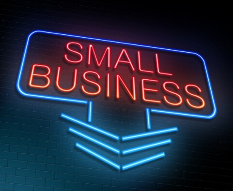 Illustration depicting an illuminated neon sign with a small business concept.
