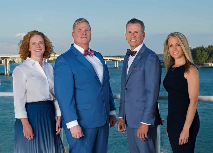 The Blue Water Wealth Management team joined Steward Partners in part for its partnership structure. From left to right: Anita Humphrey, Chris McAdoo, Richard Humphrey and Christina Elam.
