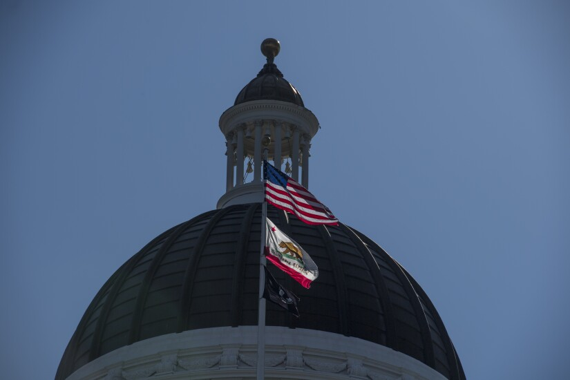 California State Capitol buildings and flags