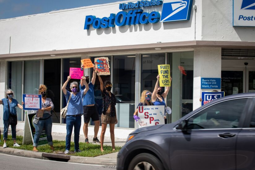 Demonstrators Attend A 'Save The Post Office Saturday' Rally