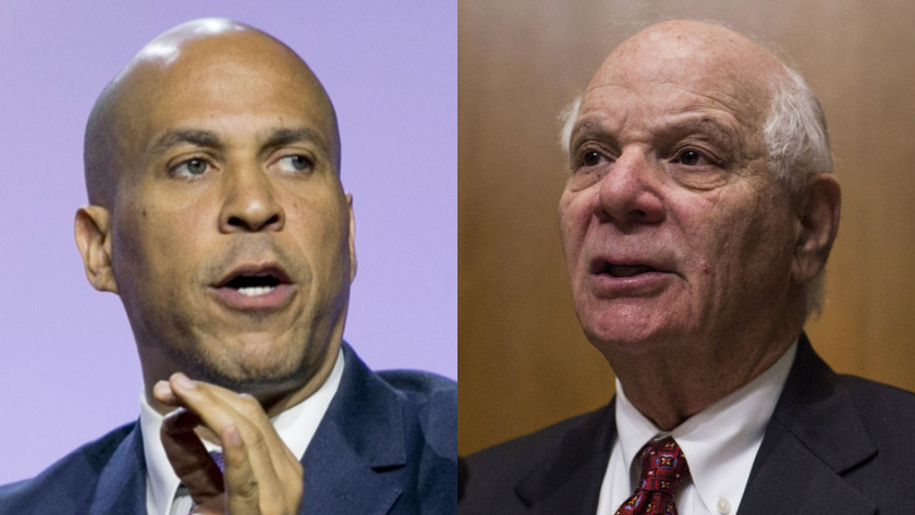 Sens. Cory Booker, left, and Ben Cardin want $10 billion set aside for community development financial institutions with records of serving women- and minority-owned businesses.