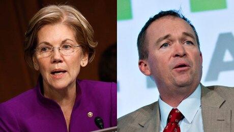 Sen. Elizabeth Warren and Mick Mulvaney, acting CFPB director.