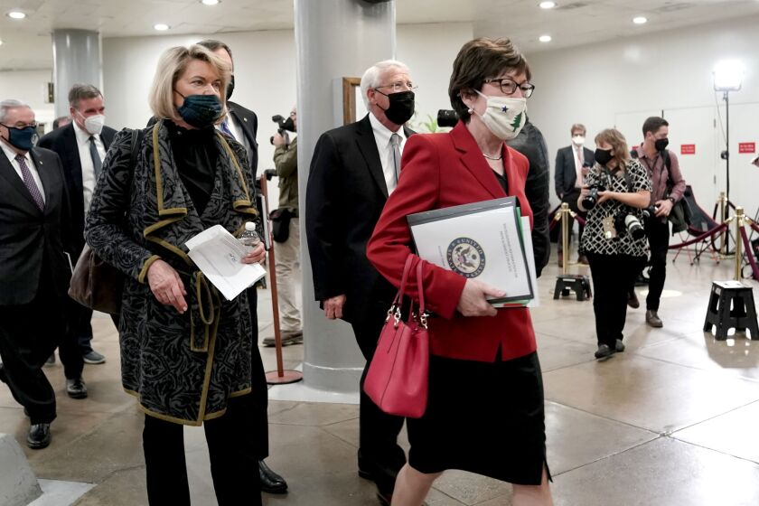 """Cynthia Lummis of Wyoming, left, and Susan Collins of Maine, right, were among three Senate Republicans voting with Democrats to overturn the OCC's true lender rule. The """"valid-when-made rule will continue to provide legal clarity to federal and state banks,"""" Lummis said on the Senate floor Tuesday night."""
