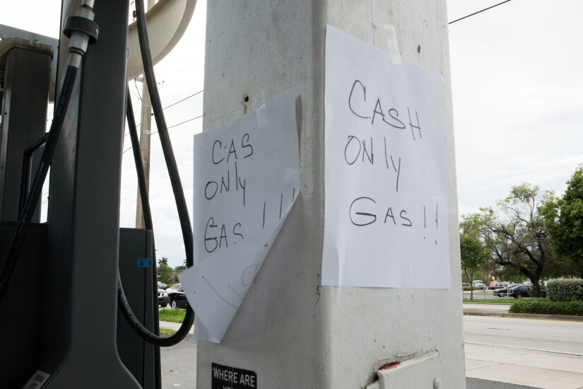 'Cash Only Gas' sign ahead of Hurricane Irma