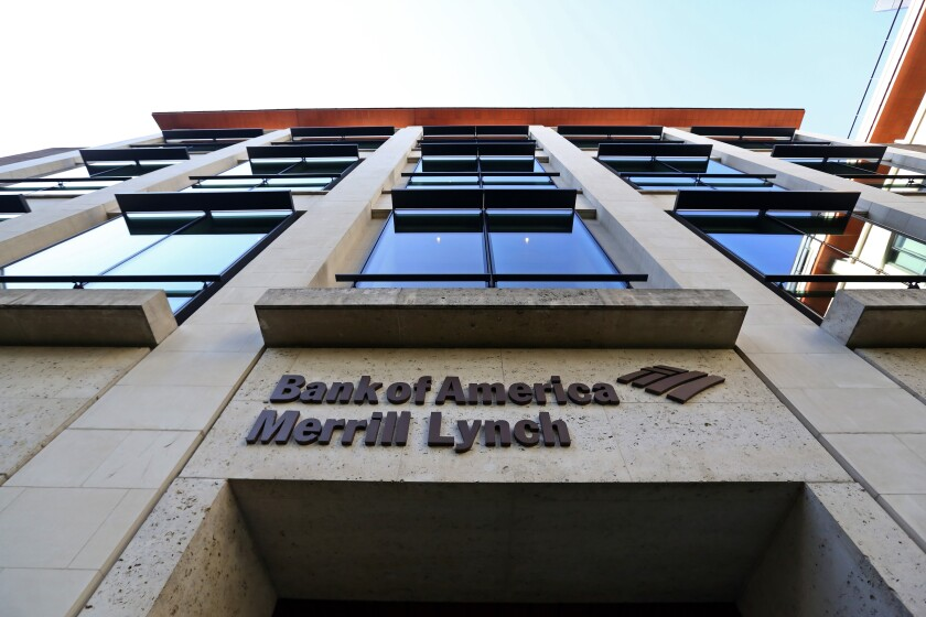 Exterior of Bank of America Merrill Lynch building.