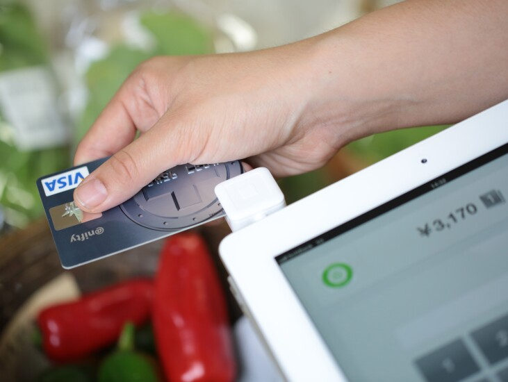 square reader with Visa card