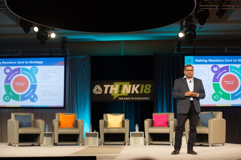 Naveen Jain, president and founder of CULytics, speaking during the 2018 CO-OP THINK Conference in Chandler, Ariz.