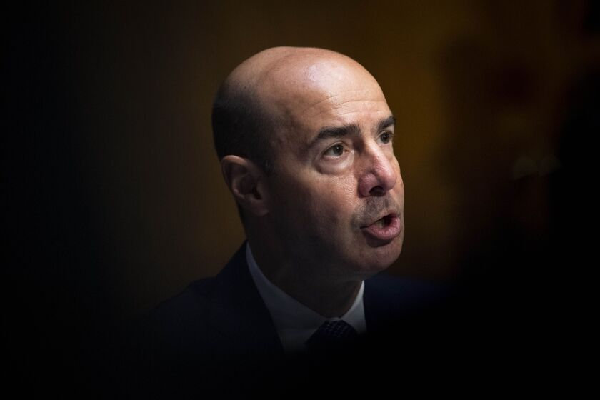 Eugene Scalia, secretary of labor, speaks during a Senate Finance Committee hearing in Washington on June 9, 2020. The hearing is to examine unemployment insurance during the Covid-19 pandemic focusing on the CARES Act. Photographer: Caroline Brehman/CQ Roll Call/Bloomberg