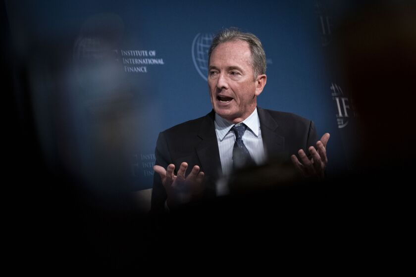 James Gorman, chairman and chief executive officer of Morgan Stanley, speaks during the Institute of International Finance annual membership meeting in Washington on Oct. 18, 2019.