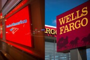 Signage for Bank of America and Wells Fargo branches.