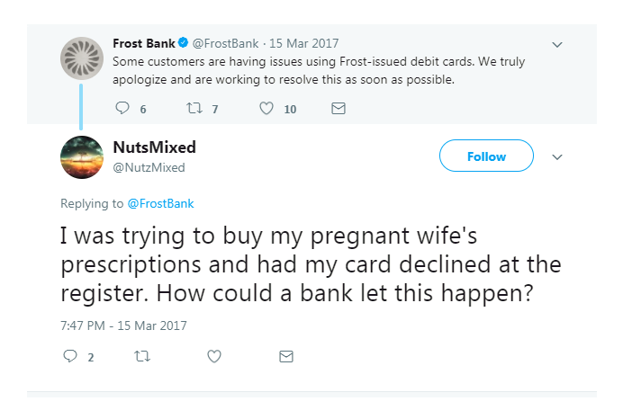 Angry customer tweet to Frost Bank