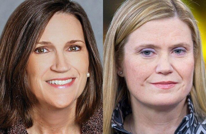 Jennifer Piepszak (left) and Marianne Lake of JPMorgan Chase.