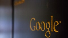 Gold Google sign from its Berlin office.
