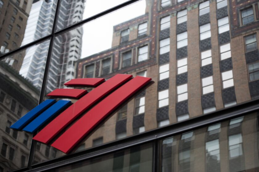 Bank of America signage is displayed at a branch in New York on April 10, 2020.