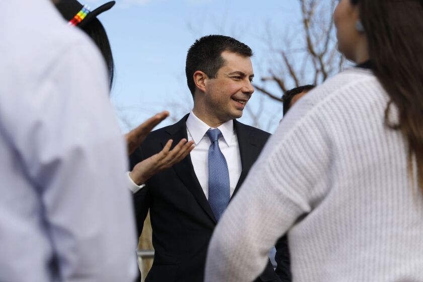 Pete Buttigieg, former mayor of South Bend and 2020 presidential candidate, speaks with supporters following a campaign event in Las Vegas.