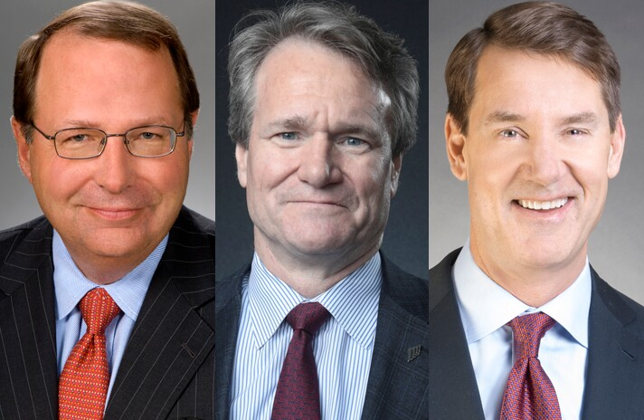 From left: Stephen Steinour, chairman, president and CEO of Huntington Bancshares; Brian Moynihan, chairman and CEO of Bank of America; and William Demchak, chairman, president and CEO of PNC Financial.