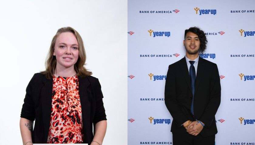 Cat Holliday, software developer for United Wholesale Mortgage (left) and Arrick Rithiphong, production support lead for Bank of America.