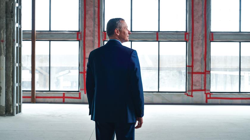 M&T Bank CEO René Jones surveys construction of the bank's new technology hub in Buffalo.