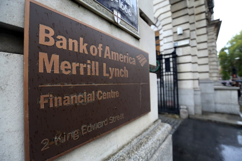 Entrance Bank of America Merrill Lynch Financial Centre in London on October 9, 2014 BLOOMBERG NEWS
