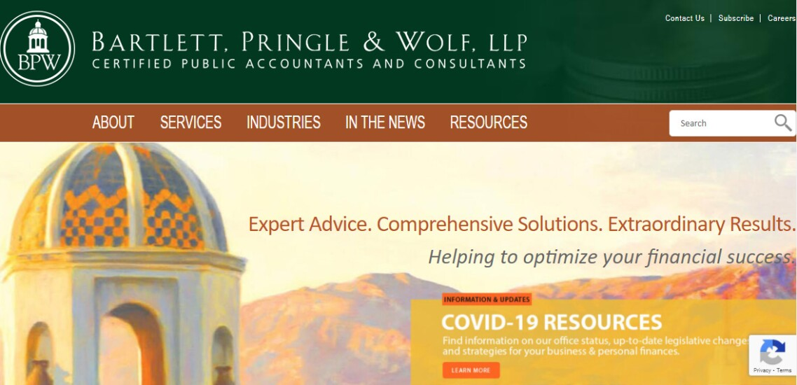 Best Firms 2020 -- Bartlett Pringle Wolf website