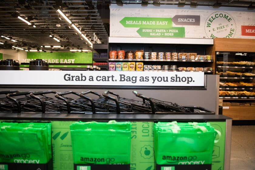 Amazon Go offers shopping carts at a newer Seattle location.