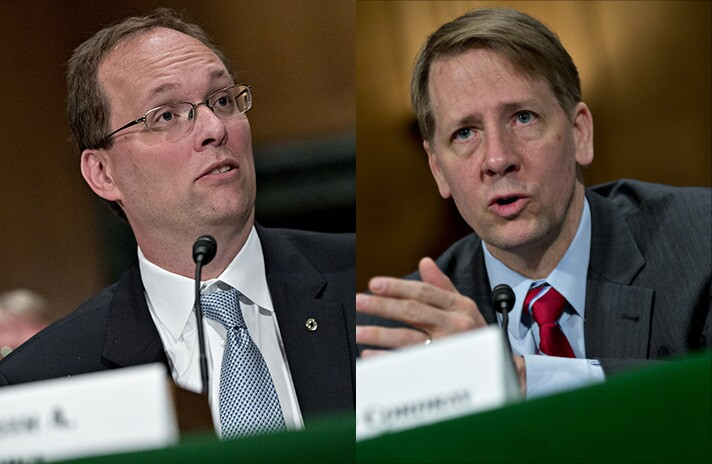 Keith Noreika, acting Comptroller of the Currency (left), and Richard Cordray, director of the Consumer Financial Protection Bureau.
