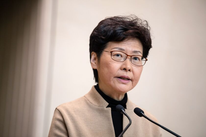 Carrie Lam, Hong Kong's chief executive, speaks during a news conference in Hong Kong, China, on Tuesday, Nov. 19, 2019.
