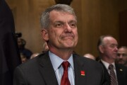 Tim Sloan, chief executive officer and president of Wells Fargo, arrives to testify before a Senate Banking, Housing and Urban Affairs Committee hearing in Washington.