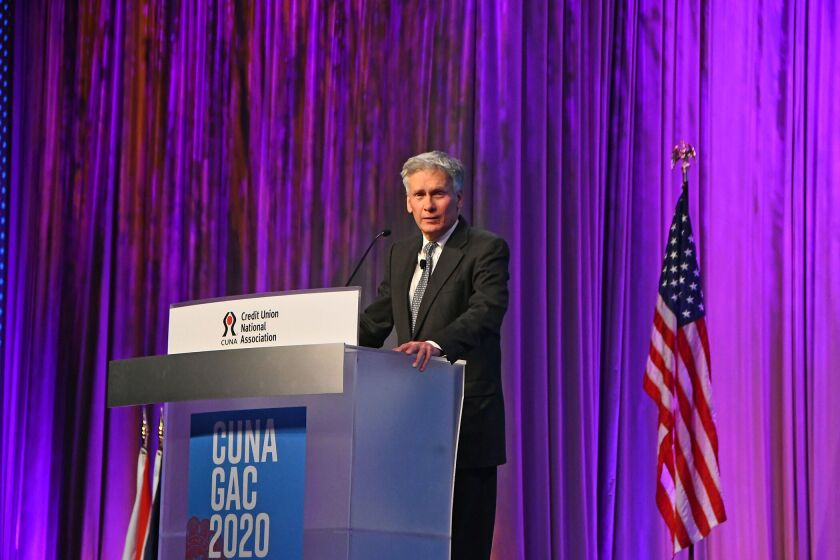 NCUA board member Mark McWatters speaking during the Credit Union National Association's 2020 Governmental Affairs Conference in Washington