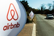 Airbnb logos on a street in South Africa