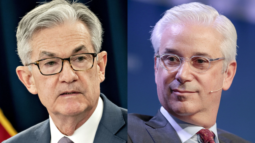The question of whether to lift Wells Fargo's asset cap in the midst of a crisis is a complicated one for Fed Chairman Jerome Powell, left. As recently as March 10, Wells Fargo CEO Charlie Scharf said that he believes the $1.95 trillion cap is appropriate.