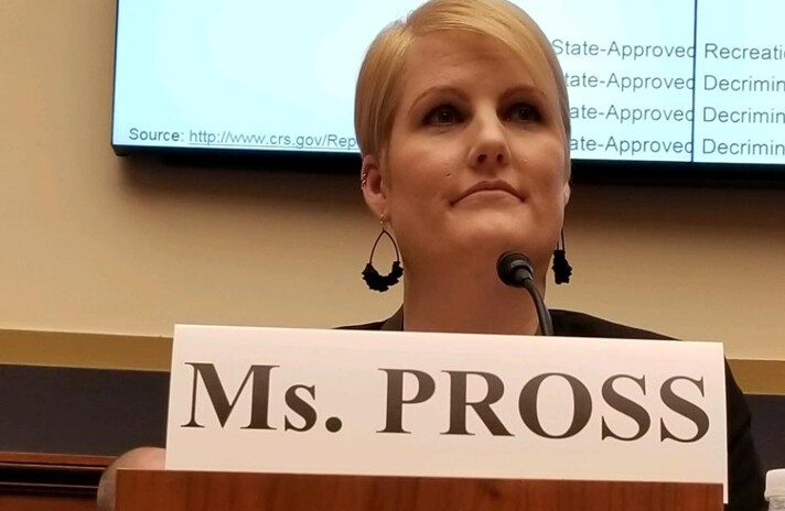 Rachel Pross, chief risk officer at Maps Credit Union in Salem, Ore., testifying before the House Financial Services Committee in a Feb. 13, 2019 hearing on pot banking