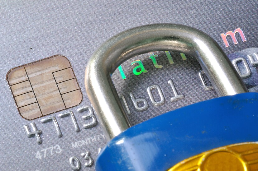 EMV card and padlock