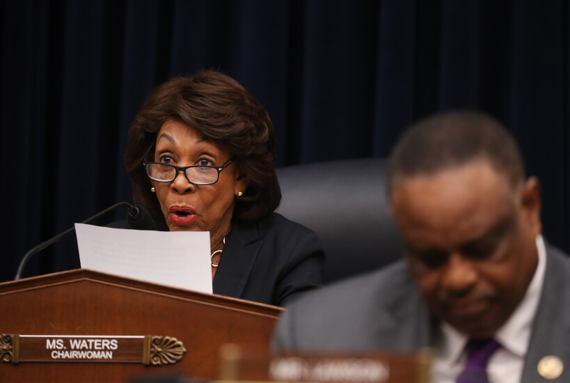 House Financial Services Committee Chairwoman Maxine Waters